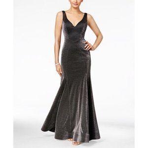 New Xscape Black/silver Metallic Trumpet Dress